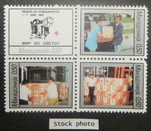 Macedonia RA36-39. 1993 Earthquake Relief, se-tenant block, NH
