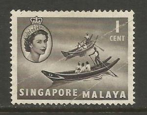 SINGAPORE 28 VFU CREASED SHIP T757-2