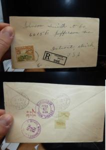 Malta KGVI 4 1/2d Reg cover 1939 to USA, B/S (13bet)
