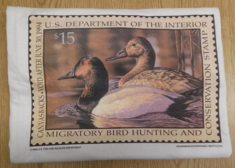 RW60 1994 Federal Duck Stamp Print on T-Shirt Size Large 100% Polyester