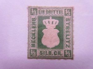 German States MECKENBURG-STRELITZ Scott 2a dk green MINT HINGED LotGS2  Cat $140