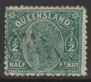 QUEENSLAND SG184 1890 ½d PALE GREEN USED