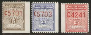 Western Union Telegraph stamps MH* 1942 and 1946