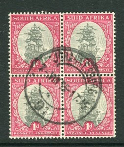 SOUTH AFRICA; 1930s early Pictorial issue fine used 1d. Block