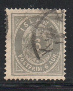 Iceland  Sc 10 1876 3 aur gray stamp used