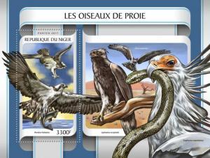 NIGER 2017 SHEET BIRDS OF PREY RAPACES RAPACI OISEAUX DE PROIE nig17210b