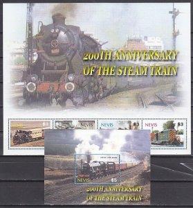 Nevis, Scott cat. 1416 a-d, 1417. Locomotives sheet of 4 & s/sheet. ^