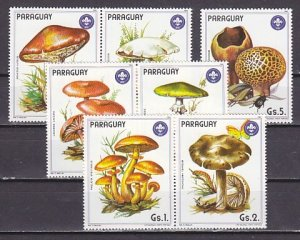 Paraguay, Scott cat. 2137 a-f, 2138. Mushrooms with Scout Logo issue. ^