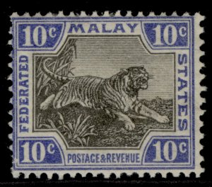 MALAYSIA - Federated Malay GV SG66, 10c black & blue, M MINT.