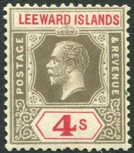 LEEWARD ISLANDS-1922 4/- Black & Red Sg 77 MOUNTED MINT V33903