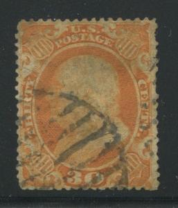 1860 US Stamp #38 30c Genuine Used Catalogue Value $425