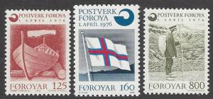 Faroe Islands #21-3; Faroe boat, flag, mailman