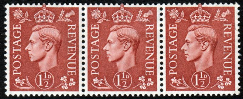 GB KGVI 1941 1.5d Pale Red-Brown SG487 Block x 3 Mint Hinged