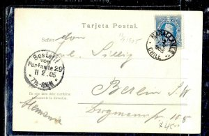 CHILE  (P3108B) 1905  5C  COLUMBUS  ON PPC  MAGALLANES  TO GERMANY
