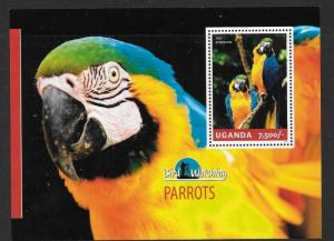 UGANDA 2014 PARROTS SHEET MNH