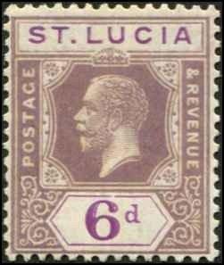 St Lucia SC# 86 KGV 6d wmk 4 MH