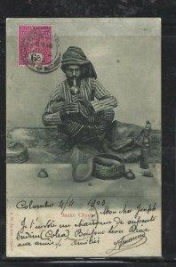CEYLON (P0808BB) 1903   QV 6C  ON PPC TO FRANCE, FR LIGNE CANCEL