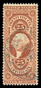 B488 U.S. Revenue Scott R44c 25c Certificate, large format blue agent handstamp