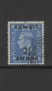 KUWAIT #76  1948  2 1/2a on 2 1/2p  KING GEORGE VI SURCHARGED   F-VF  USED  b