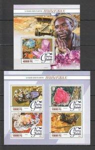 ST095 2016 GUINEA  NATURE GEOLOGY MINERALS 1KB+1BL MNH