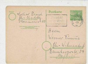 Berlin 1953 Charlottenberg Cancel Slogan Stamps Card Ref 25893
