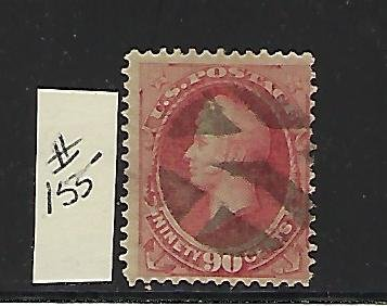 US #155 - 1872 COMMODORE PERRY 90 CENTS ( CARMINE) USED