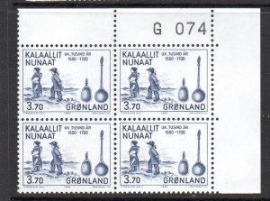 Greenland Sc 154 1984 3.7 kr Spoons stamp corner number block of 4 mint NH