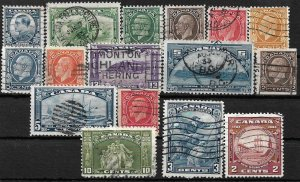COLLECTION LOT OF 16 CANADA KG5 ERA STAMPS 1932+ CV+$44