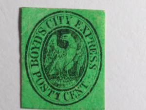 SCOTT # 20L15 BOY'DS ONE CENT BLACK ON GREEN DISPATCH LOCAL STAMP 1860 !!