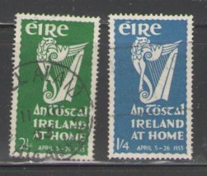 Ireland Sc 147-8 1953 At Home stamp set  used