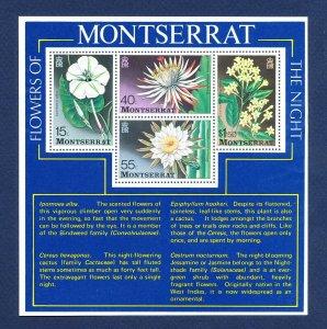 MONTSERRAT - Scott 369a  - FVF MNH S/S - Flowers - 1977
