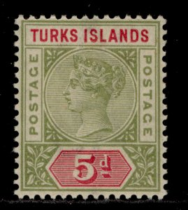 TURKS & CAICOS ISLANDS QV SG72, 5d olive-green & carmine, M MINT. Cat £12.