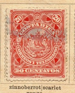 Costa Rica 1892 Early Issue Fine Used 20c. NW-09202