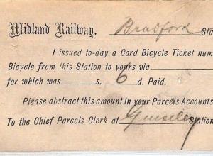 GB PARCELS Bradford Railway Station *BICYCLE TICKET* Very Scarce Item 1896 CB248