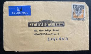 1940s Northern Rhodesia Airmail Commercial Cover To Newcastle England