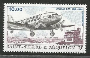 ST. PIERRE & MIQUELON C64, MNH STAMP, AIRCRAFT, DOUGLAS DC3 (1948-1988)