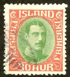 Iceland Sc# 183 Used 1931-1933 30a Christian X