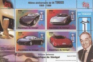 Senegal - 1999 De Tomaso Automobiles - 4 Stamp Souvenir Sheet - Scott #1346