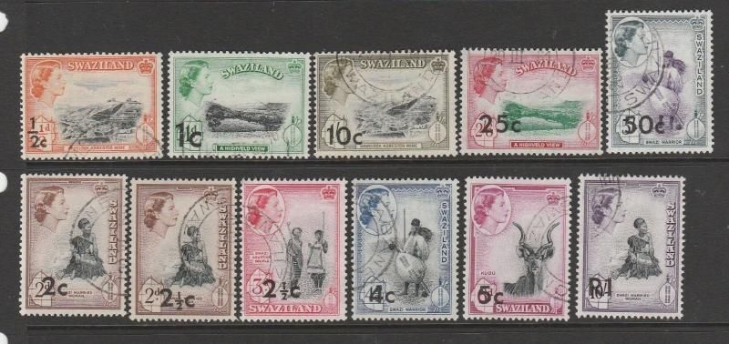 Swaziland 1961 Opts 11 vals to 1R as shown, VFU