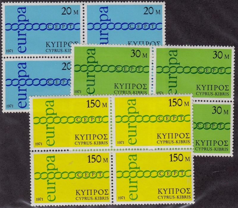 CYPRUS MNH Scott # 365-367 EUROPA Blocks (12 Stamps) -2