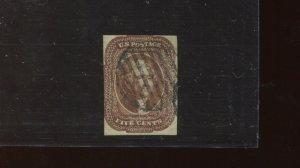 Scott 12 Var Jefferson Used Imperf Stamp with APS Cert (12-5) LIGHT PRINTING EFO
