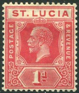 ST LUCIA-1921-30 1d Rose-Carmine Sg 92 MOUNTED MINT V33916