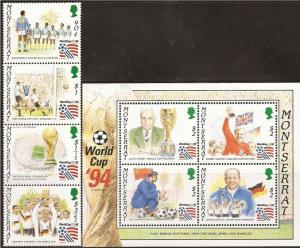 Montserrat - 1994 FIFA Soccer - 4 Stamp Sheet + 4 Stamp Strip 13B-003