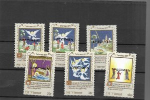 St.Vincent 1977 Christmas Set of 6 overprinted SPECIMEN
