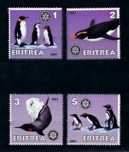 [102187] Eritrea local issue 2001 Birds vögel oiseaux penguins Rotary MNH