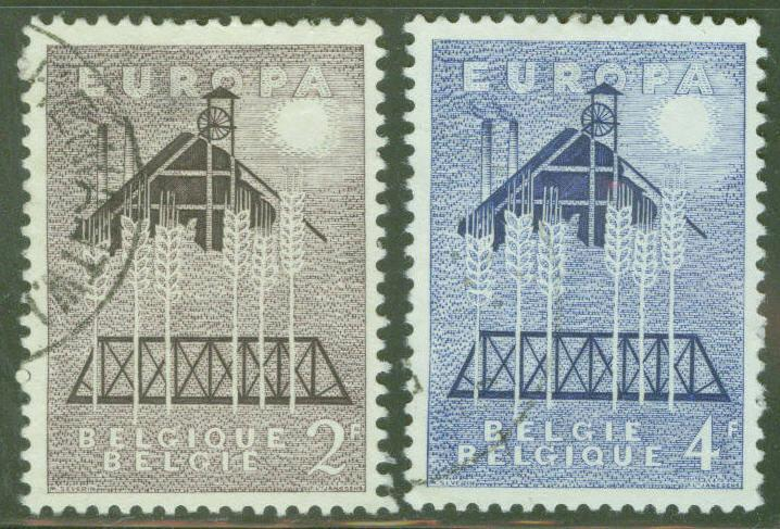 Belgium Scott 512-3 MNH** 1957 Europa set  perf tips toned