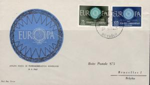 Turkey 1960 Europa on Clean Un-Addressed FDC Color Cachet  VF