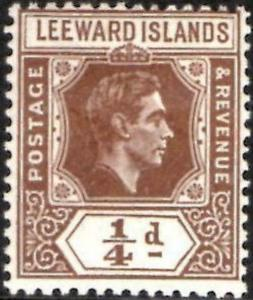 Leeward Islands 1938 KGVI   1/4d Brown    SG.95 lmm