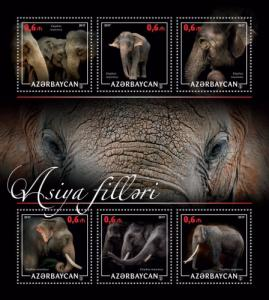 AZERBAIJAN 2017 SHEET ELEPHANTS WILDLIFE azrb17208a