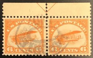 TangStamps US Airmail Stamps #C1 Arrow Pair Used, XF-Superb Centering